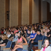 Model Laboratory students gather in the Auditorium for Dr. Prater's talk