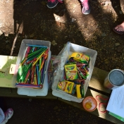 Colored pencils and crayons were available for kids activities.