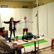 Two Model Lab students get to demonstrate how motion capture works