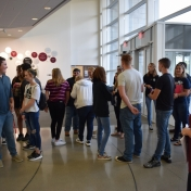 Madison Southern students gather in atrium of Science Building