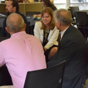 Tracie Prater talks with Malcolm Frisbie and Tony Blose