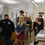 Madison Southern students watch a demonstration in a chemistry lab