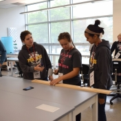 Students participating in earthquake activity