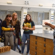 Dr. Derek Bussan talks with a group of Madison Southern students