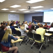 Chemistry Chair, Dr. Tanea Reed talks with Madison Southern students