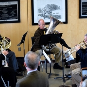 EKU Brass Quintet plays commissioned musical piece to kick off dedication.