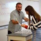 Dr. Donald Yow works with Madison Southern students